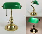 Mid Century Modern Bankers Brass Desk Lamp Green Glass Pull Chain Real Mcm 1960s