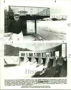1984 Press Photo Leroy Bulachek's Flooded Home And The Parker Dam In Arizona
