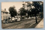 Advertising Horse Drawn Wagons American Flags Antique Real Photo Postcard Rppc