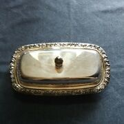 Vintage Wm A Rogers Oneida Silversmiths Silver Plate Covered Butter Dish Floral