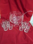 Princess House Exclusive Etched Heritage Punch Bowl W/ 12 Cups And Ladle 069 Boxed