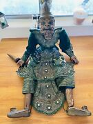 Antique Carved Wood Wooden Burmese Hand Made Wood Marionette String Puppet, Rare