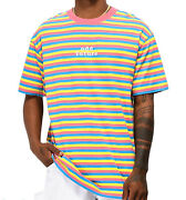Ofwgkta Odd Future Pink Blue Yellow Striped Embroidered T-shirt Size Large