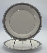 Set Of 2 Noritake Japan Ivory China Etienne 7260 Dinner Plates 10 1/2 Inches