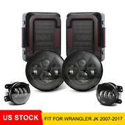 Dot Approved 7 Led Headlight And Fog Lamp And Tail Light For Jeep Wrangler Jk 07-18