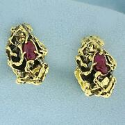 Antique Hand Made Nature Design Ruby Cuff Links In 18k
