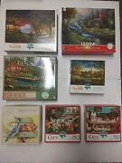 Lot Of 7 Jigsaw Puzzle 750-2000pc [buffalo Redlin, Cats, Mb Puzzle..] Complete