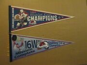Nhl Colorado Avalanche Vintage 1996 And 2001 Stanley Cup Champions Hockey Pennants