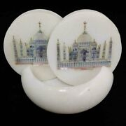 Taj Mahal White Marble And Mother Of Pearl Inlay 6 Coaster Set With Holder
