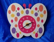 Butterfly Clock By Modern Moose Wooden W/ Polka Dots Tested/working Vgc