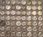 700 Lot Barber Mercury Roosevelt Silver Dimes With Wide Range Dates Mint Marks
