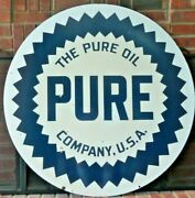 Vintage Original Pure Oil Co Two-sided 42 Porcelain Sign - Very Good Condition