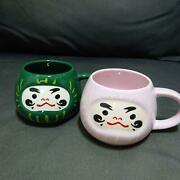 For Private 2 Starbucks Mug Cup Daruma Pink Green New Year Lucky Charm Set Of 2