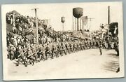 Military Unit Marching W/ American Flags Antique Real Photo Postcard Rppc