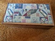 Vintage Tapestry Storage Ottoman Foot Stool Sewing Box 20 By 11 By 6 In