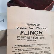 Antique 1913 Flinch Card Game Complete Box Cards Instructions Kalamazoo Michigan