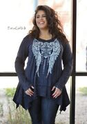Vocal Plus Size Womens Crystal Black Mineral Cross Wings Tunic Shirt 1x 2x 3x