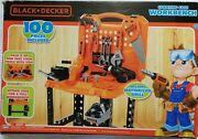 Black + Decker Carrying Case Workbench Motorized Drill Kids Play Toy Tools Set
