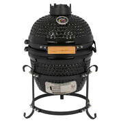 13in Round Ceramic Charcoal Grill Black Kamado Style Energy Saving Outdoor Bbq