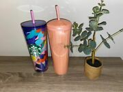 Starbucks Spring 2021 Pink Floral Tumbler Lid Travel Cold Cup Coffee