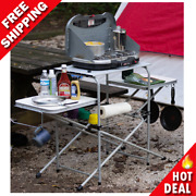 Portable Outdoor Garden Camping Kitchen Cooking Stand Steel W/ 3 Table Tops New