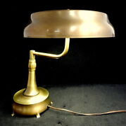 General Electric Brass Mid Century Art Deco Bankers Desk Ufo Lamp Table Light