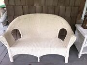 Vintage White Wicker Chair Love Seat Just Painted Old Good Condition
