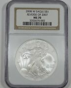 2008-w Reverse Of 2007 American 1 Oz Silver Eagle 1 Certified Ngc Ms 70