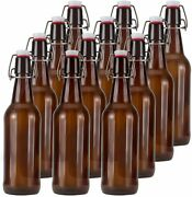 16oz Glass Beer Bottles With Flip Caps For Home Brewing Ommo Amber Swing Top