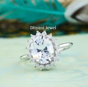 2.5 Ct Moissanite Oval Cut Art Deco Antique Engagement Ring 10k Solid White Gold