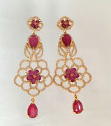 Cubic Zirconia Ruby Fashion Chandelier Earring Floral Yellow Gold Plated 28 Re 3