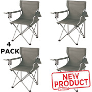 4 Pack Folding Camping Chair Portable Outdoor Chairs W/ Cup Holder Fishing Beach
