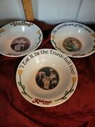 Collectible 1996 Kelloggs Set Of 3 Cereal Bowls Early Advertising 1907 1911 1914