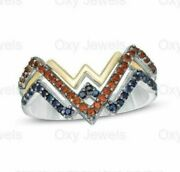 Wonder Woman Collection 0.75 Garnet And Blue Round Diamond Engagement Ring