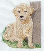 Embroidered Ladies Short-sleeved T-shirt - Yellow Labrador Retriever Pup I1264