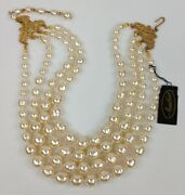 Miriam Haskell Necklace Baroque Champagne Pearl 4 Strand Signed Original Tag