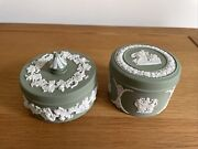 2 Vintage Wedgwood Sage Green Lidded Trinket Boxes Grapevine And Classical Pattern