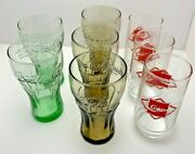 Coca Cola Glasses Set Of 8 Vintage Amber Green Red Clear