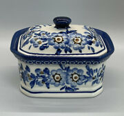 Polish Pottery Unikat Octagon Box With Lid Box Dish Canister Floral Flowers Blue