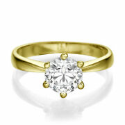 1 Ct Solitaire Diamond Engagement Ring Round Cut F/vs1 18k Yellow Gold