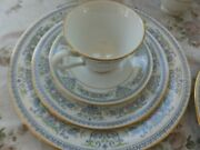 Set Of 32 Collectable Lenox Oxford Fine Bone China Fontaine-blue Gold Rim