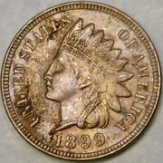 1899/1__9 Indian Head Cent/penny Re Punched Date Scarce Beauty Snow 4 Die Chip