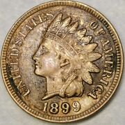 1899/9 Indian Head Cent/penny Re Punched/6mm Rim Cud Date Scarce Beauty Snow 12