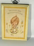 Betsy Clark Girl Bunny Yellow Plaque Days Filled With Love 1972 Vintage