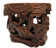 Wood Carved Stand Chinese Antique Phoenix Bird Flowers 18th/19th Century