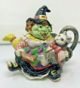 Fitz And Floyd Halloween Witch With Cat And Broom 38 Ounce Teapot - Purrfect