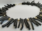 Solid 14k Yellow Gold 19.5 Hawaiian Black Coral Necklace