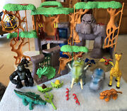 Fisher Price Imaginext Gorilla Mountain Jungle Playset Forest Loaded Lot Of Anim