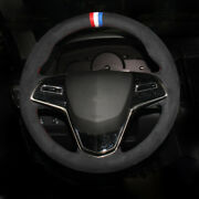Hand-stitched Black Suede Car Steering Wheel Cover For Cadillac Xts Atsl Ct6 Xt5
