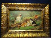 Vintage Oil Painting Cats By R. Fisher Germany Size 36x30 On A Wooden Rare